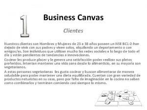 Business Canvas Clientes Nuestros clientes son Hombres y