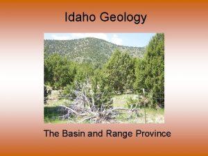 Idaho Geology The Basin and Range Province This