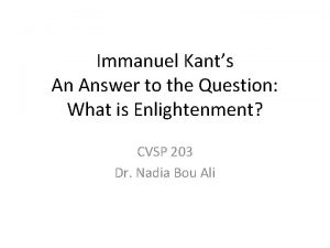 Immanuel Kants An Answer to the Question What