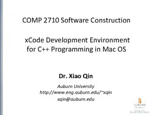 COMP 2710 Software Construction x Code Development Environment