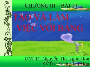 CHNG III BI 19 TO V LM VIC