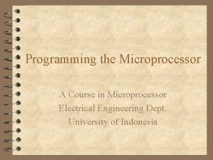 Programming the Microprocessor A Course in Microprocessor Electrical