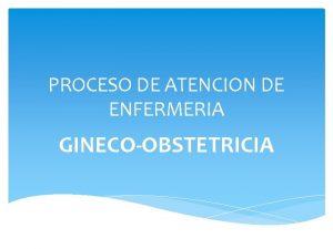 PROCESO DE ATENCION DE ENFERMERIA GINECOOBSTETRICIA I DATOS