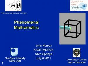 Promoting Mathematical Thinking Phenomenal Mathematics 1 The Open