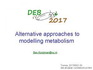 Alternative approaches to modelling metabolism Bas Kooijmanvu nl