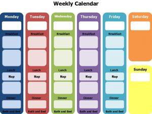 Weekly Calendar Monday Tuesday Wednesday Thursday Friday Breakfast