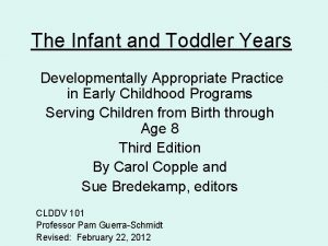 The Infant and Toddler Years Developmentally Appropriate Practice