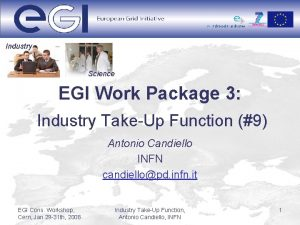 Industry Science EGI Work Package 3 Industry TakeUp