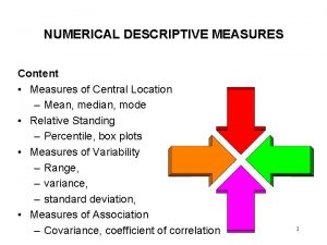 NUMERICAL DESCRIPTIVE MEASURES Content Measures of Central Location