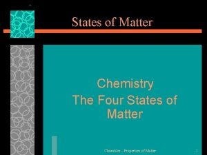 States of Matter Chemistry The Four States of