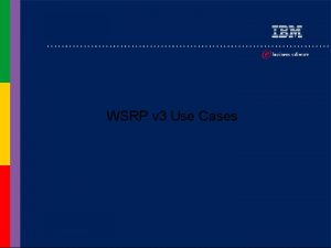 WSRP v 3 Use Cases Use case list