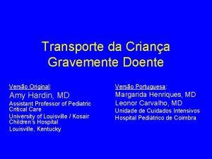 Transporte da Criana Gravemente Doente Verso Original Verso