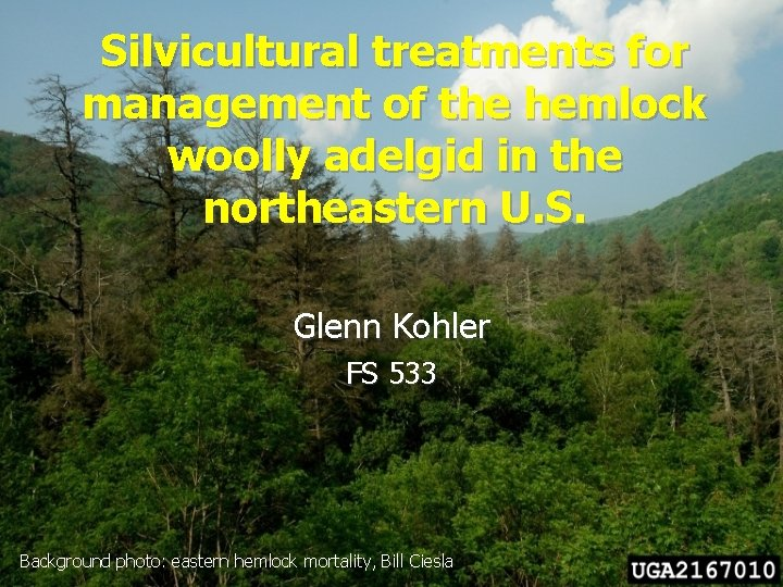 Silvicultural treatments for management of the hemlock woolly