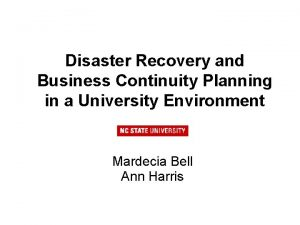 Disaster Recovery and Business Continuity Planning in a
