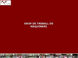 GRUP DE TREBALL DE MAQUINARI Conclusions del GRUP