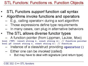 STL Functors Functions vs Function Objects STL Functors