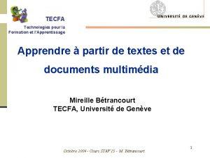 TECFA Technologies pour la Formation et lApprentissage Apprendre