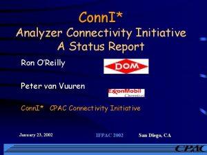 Conn I Analyzer Connectivity Initiative A Status Report