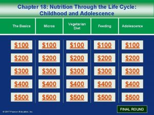 Chapter 18 Nutrition Through the Life Cycle Childhood