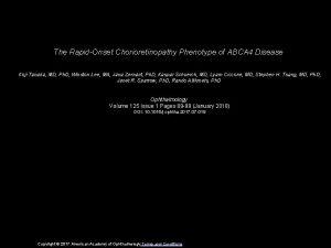 The RapidOnset Chorioretinopathy Phenotype of ABCA 4 Disease