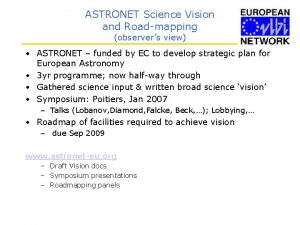 ASTRONET Science Vision and Roadmapping observers view ASTRONET