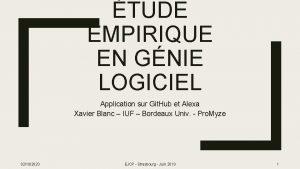 TUDE EMPIRIQUE EN GNIE LOGICIEL Application sur Git