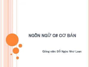 NGN NG C C BN Ging vin Ngc