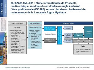 QUAZAR AML001 tude internationale de Phase III multicentrique