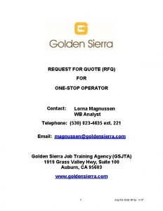 REQUEST FOR QUOTE RFQ FOR ONESTOP OPERATOR Contact