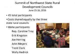 Summit of Northwest State Rural Development Councils June