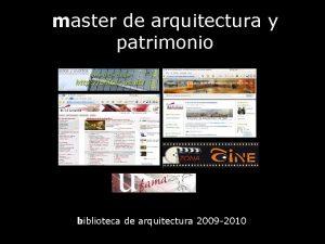 master de arquitectura y patrimonio biblioteca de arquitectura