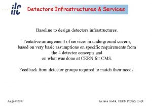 Detectors Infrastructures Services Baseline to design detectors infrastructures