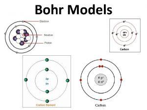 Bohr Models Why Bohr Models 1 Bohr models