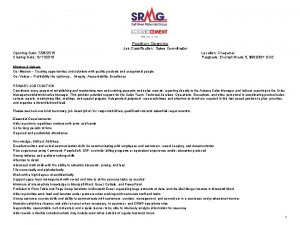 Position Opening Job Classification Sales Coordinator Opening Date