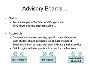 Advisory Boards Goals To simulate part of the