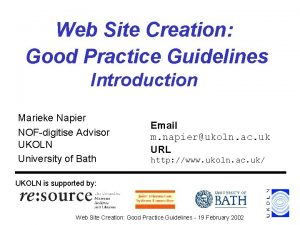 Web Site Creation Good Practice Guidelines Introduction Marieke