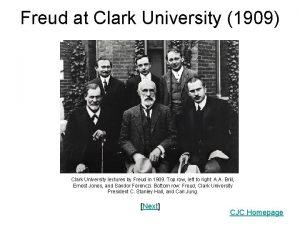 Freud at Clark University 1909 Clark University lectures