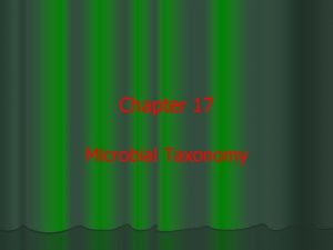 Chapter 17 Microbial Taxonomy Microbial Classification and Taxonomy
