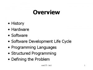 Overview History Hardware Software Development Life Cycle Programming