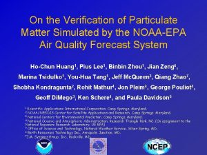 On the Verification of Particulate Matter Simulated by