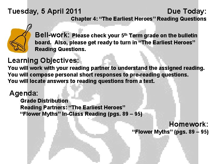 Tuesday 5 April 2011 Due Today Chapter 4