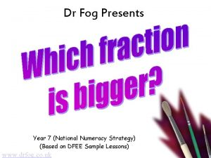 Dr Fog Presents Year 7 National Numeracy Strategy