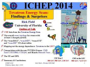 ICHEP 2014 Tevatron Energy Scan Findings Surprises Rick