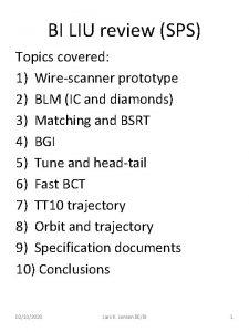 BI LIU review SPS Topics covered 1 Wirescanner
