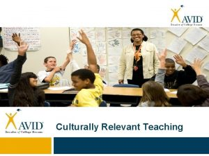 Culturally Relevant Teaching What is Culturally Relevant Teaching
