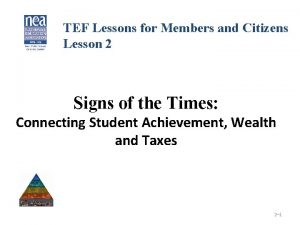 TEF Lessons for Members and Citizens Lesson 2