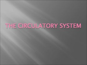 THE CIRCULATORY SYSTEM Circulatory System Provides cells with