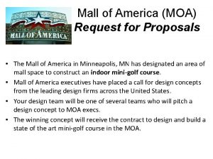 Mall of America MOA Request for Proposals The