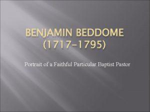 BENJAMIN BEDDOME 1717 1795 Portrait of a Faithful