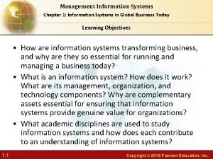 Management Information Systems Chapter 1 Information Systems in